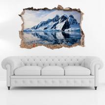 Vinilo 3D Icebergs Y Montañas