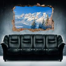 Vinilo 3D Montañas Nevadas
