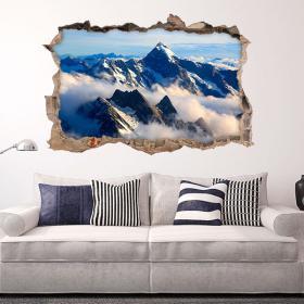 Vinilo 3D Nubes En Las Montañas