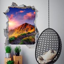 Vinilos 3D Montañas Y Puesta De Sol