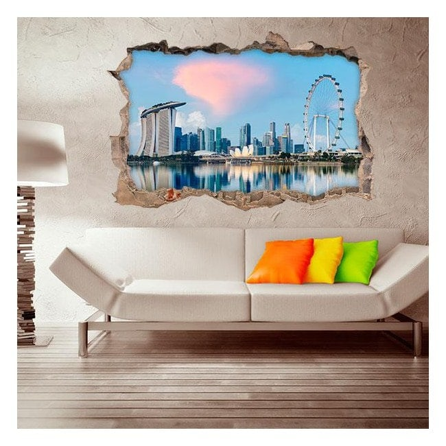 Vinilo 3D Singapore Ciudad