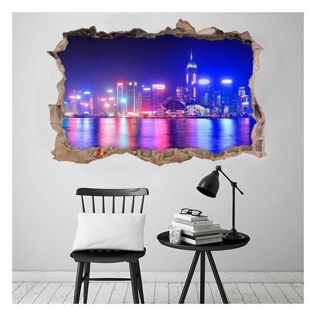 Vinilos 3D Ciudad Hong Kong