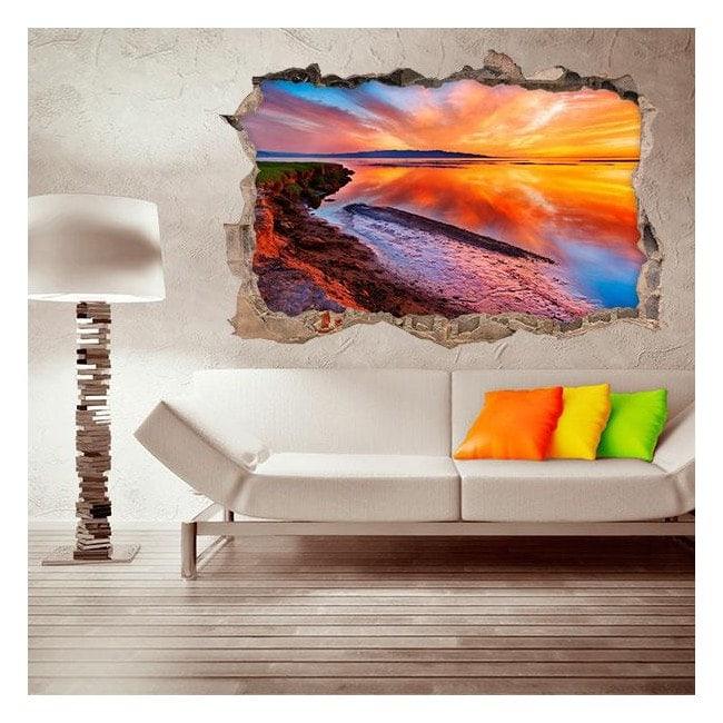 Vinilo 3D Laguna Atardecer