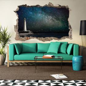 Vinilo 3D Faro Y Cielo Con Estrellas
