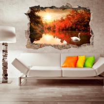 Vinilo 3D Pared Cisne