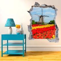 Vinilo 3D Molino Y Tulipanes