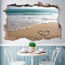 Vinilo 3D Corazón En La Playa