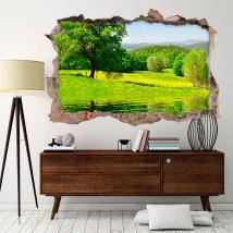 Vinilo 3D Árbol En El Lago