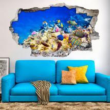 Vinilos 3D Peces De Colores En El Mar