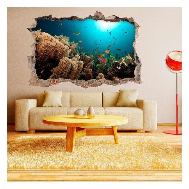 Vinilos 3d paredes peces del mar for Pegatinas de peces