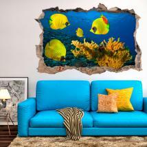 Vinilos 3D Corales Y Peces Del Mar