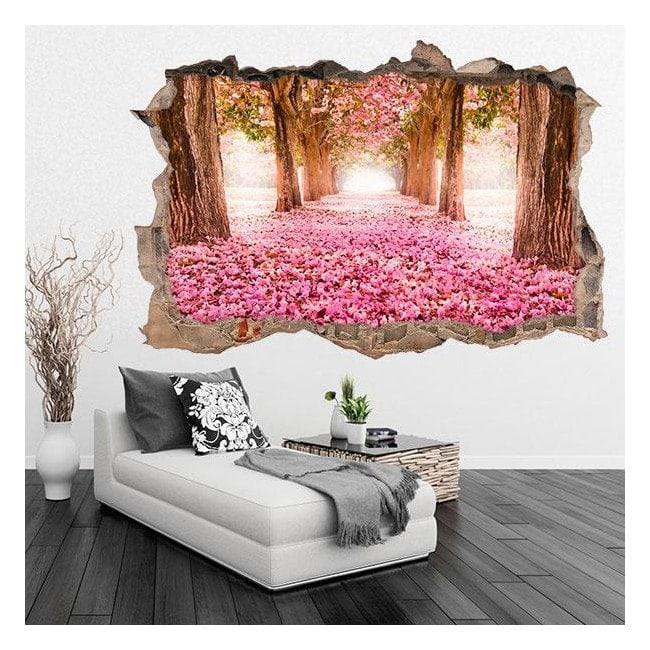 Vinilo 3D Camino De Flores