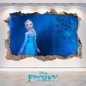 Vinilo 3D Disney Frozen Agujero Pared