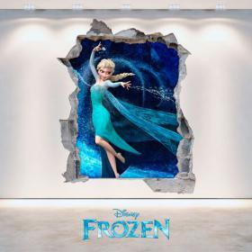 Vinilos 3D Disney Frozen Agujero Pared
