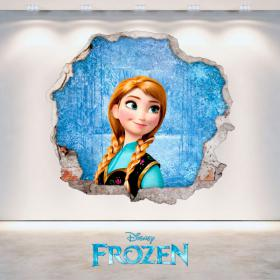 Vinilos Disney Anna Frozen Agujero Pared 3D