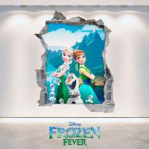 Vinilos Disney Anna y Elsa Frozen Agujero Pared 3D