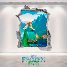 Vinilos Disney Frozen 3D Elsa Y Anna Agujero Pared