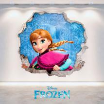 Vinilos Disney Frozen Anna Agujero Pared 3D
