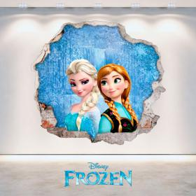 Vinilos Disney Frozen Anna Y Elsa Agujero Pared 3D