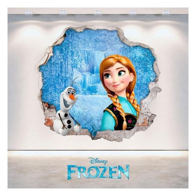 Vinilos Disney Frozen Anna Y Olaf Agujero Pared 3D