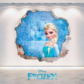 Vinilos Disney Frozen Elsa Agujero Pared 3D