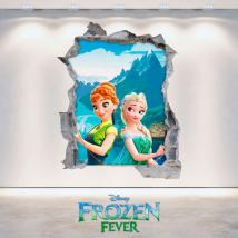 Vinilos Disney Frozen Elsa Y Anna 3D Agujero Pared