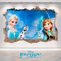 Vinilos 3D Disney Frozen Elsa Y Anna Agujero Pared