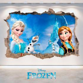 Vinilos Disney Frozen Elsa Y Anna Agujero Pared 3D