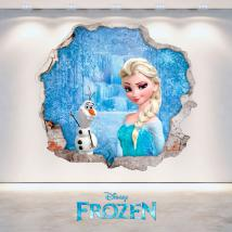 Vinilos Disney Frozen Elsa Y Olaf 3D Agujero Pared