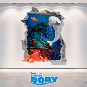 Vinilos 3D Disney Dory Agujero Pared