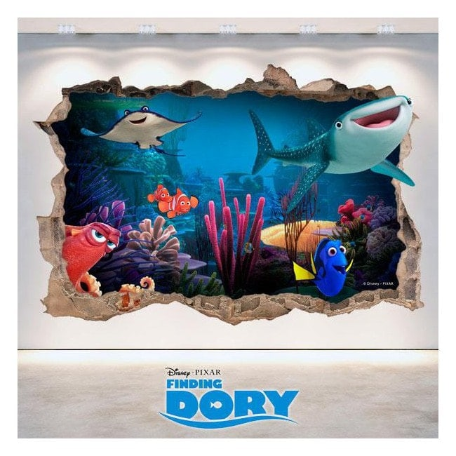 Vinilos Disney Buscando A Dory Agujero Pared 3D