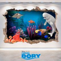 Vinilos Disney Finding Dory Agujero Pared 3D