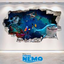 Vinilos Disney Buscando A Nemo 3D Agujero Pared