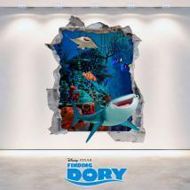 Vinilo 3D Disney Buscando A Dory Agujero Pared