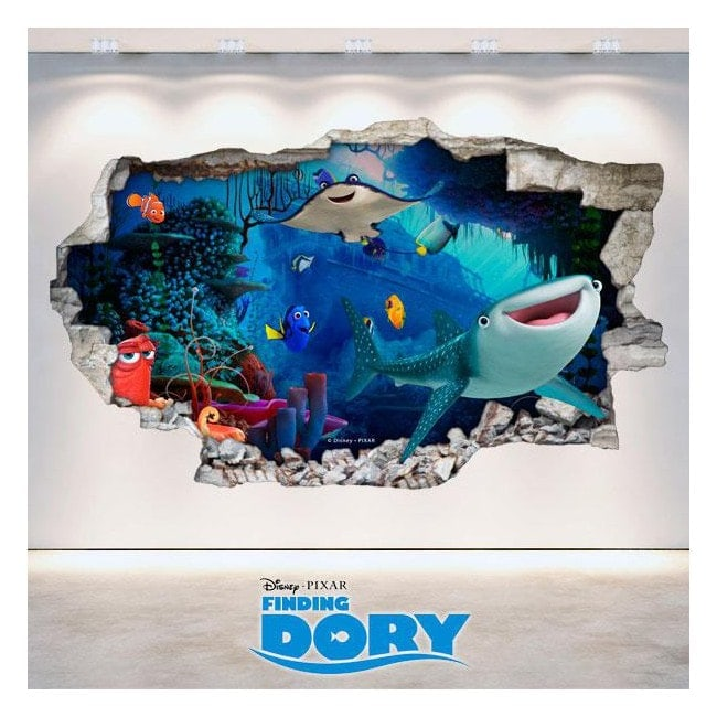 Vinilos Disney Buscando A Dory 3D Agujero Pared