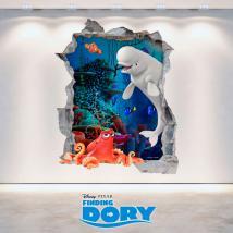 Vinilos Disney 3D Agujero Pared Buscando A Dory