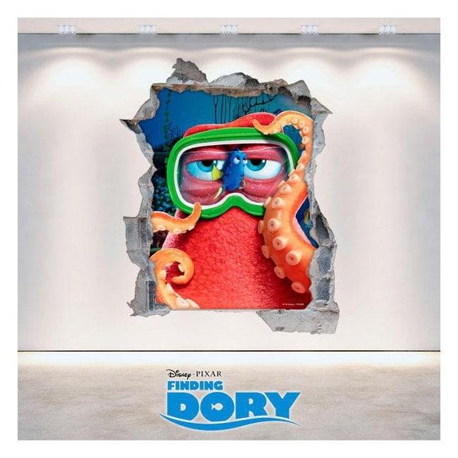 Vinilo Disney Agujero Pared Buscando A Dory 3D