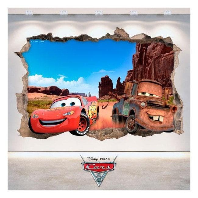 Vinilos 3D Disney Cars Agujero Pared