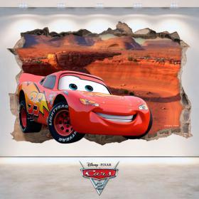 Pegatina 3D Disney Cars 2 Agujero Pared