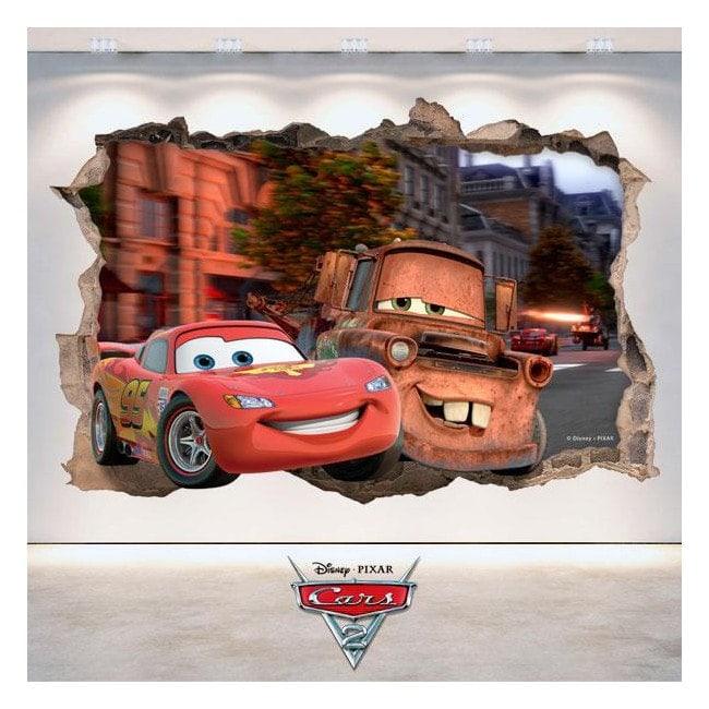 Adhesivos 3D Agujero Pared Disney Cars 2