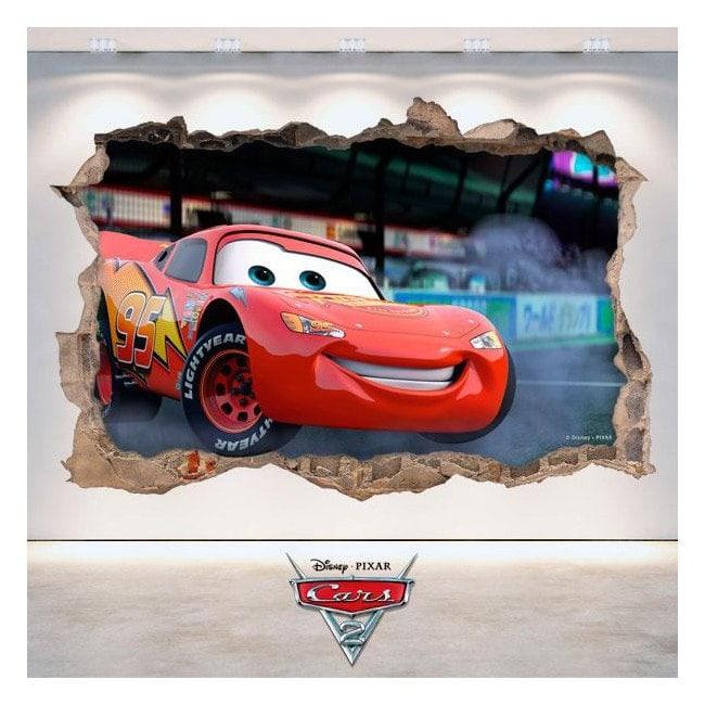 Pegatina Disney Cars 2 Agujero Pared 3D