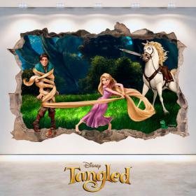 Vinilos Disney Enredados Agujero Pared 3D