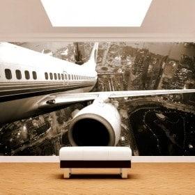 Fotomural Avión Sobre Nueva York
