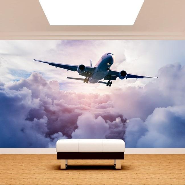 Fotomural Avión Entre Las Nubes