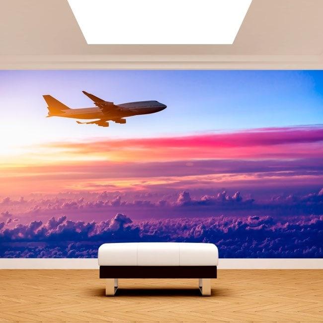 Fotomural Avión En Las Nubes