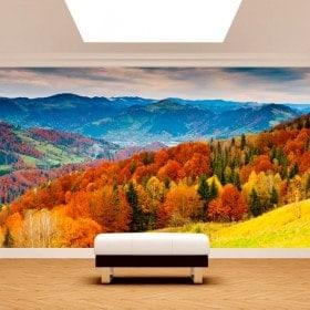 Fotomurales Árboles Montañas Otoño