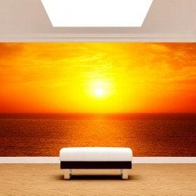 Fotomurales Sol Atardecer En El Mar
