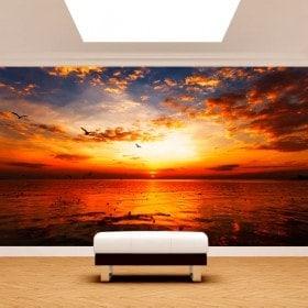 Fotomural Atardecer Sol Mar