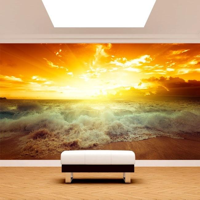 Fotomural Sol Atardecer Playa