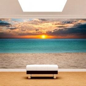Fotomurales Puesta De Sol En La Playa